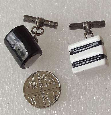 Sweets novelty chain cufflinks Black and White Liquorice Allsorts